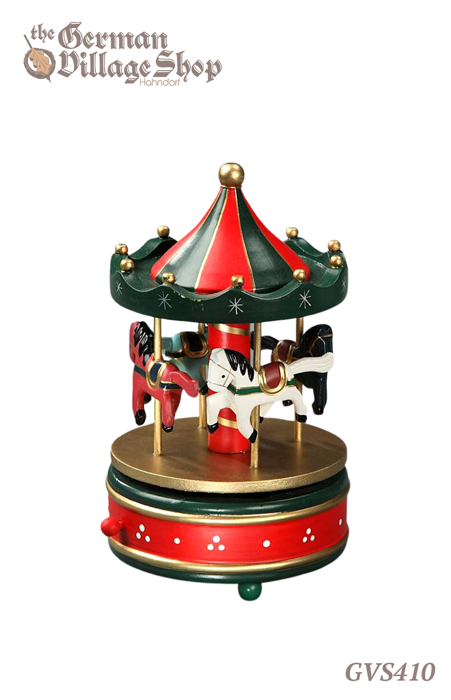 German wooden Christmas decoration, musical carousel Christmas decoration