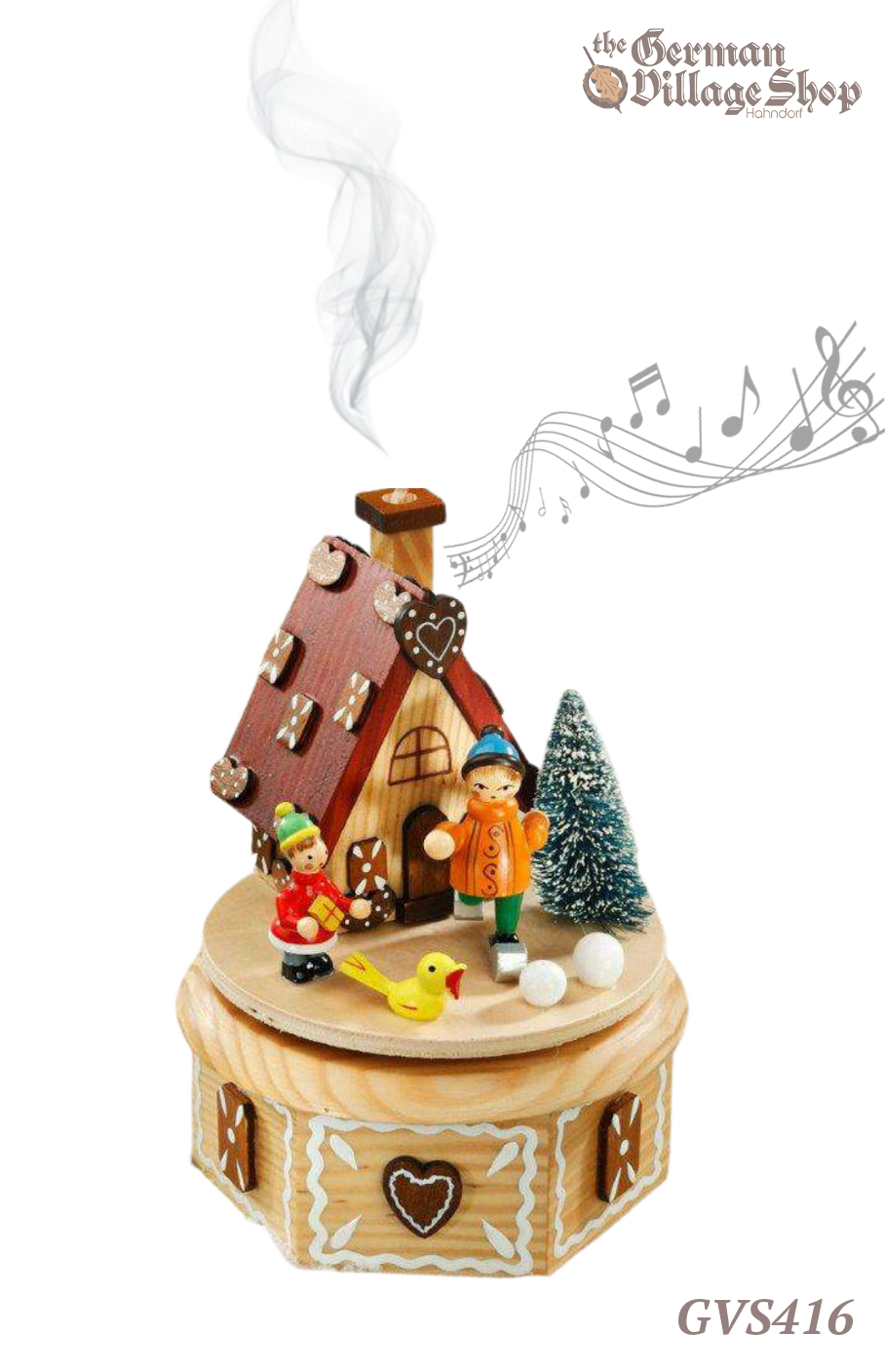 German wooden Christmas decoration, Music box and smoker incense burner