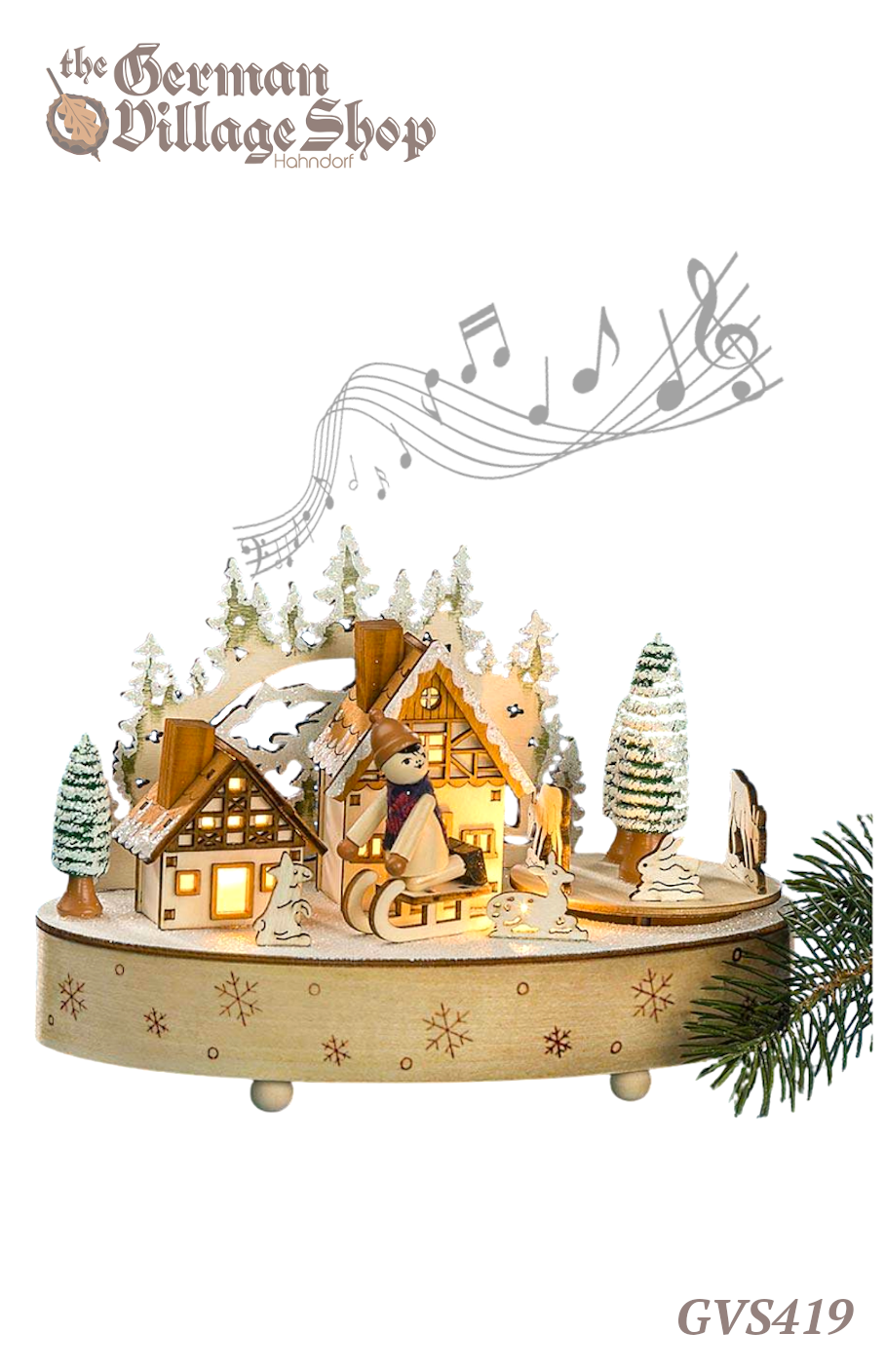 German wooden Christmas decoration, music box