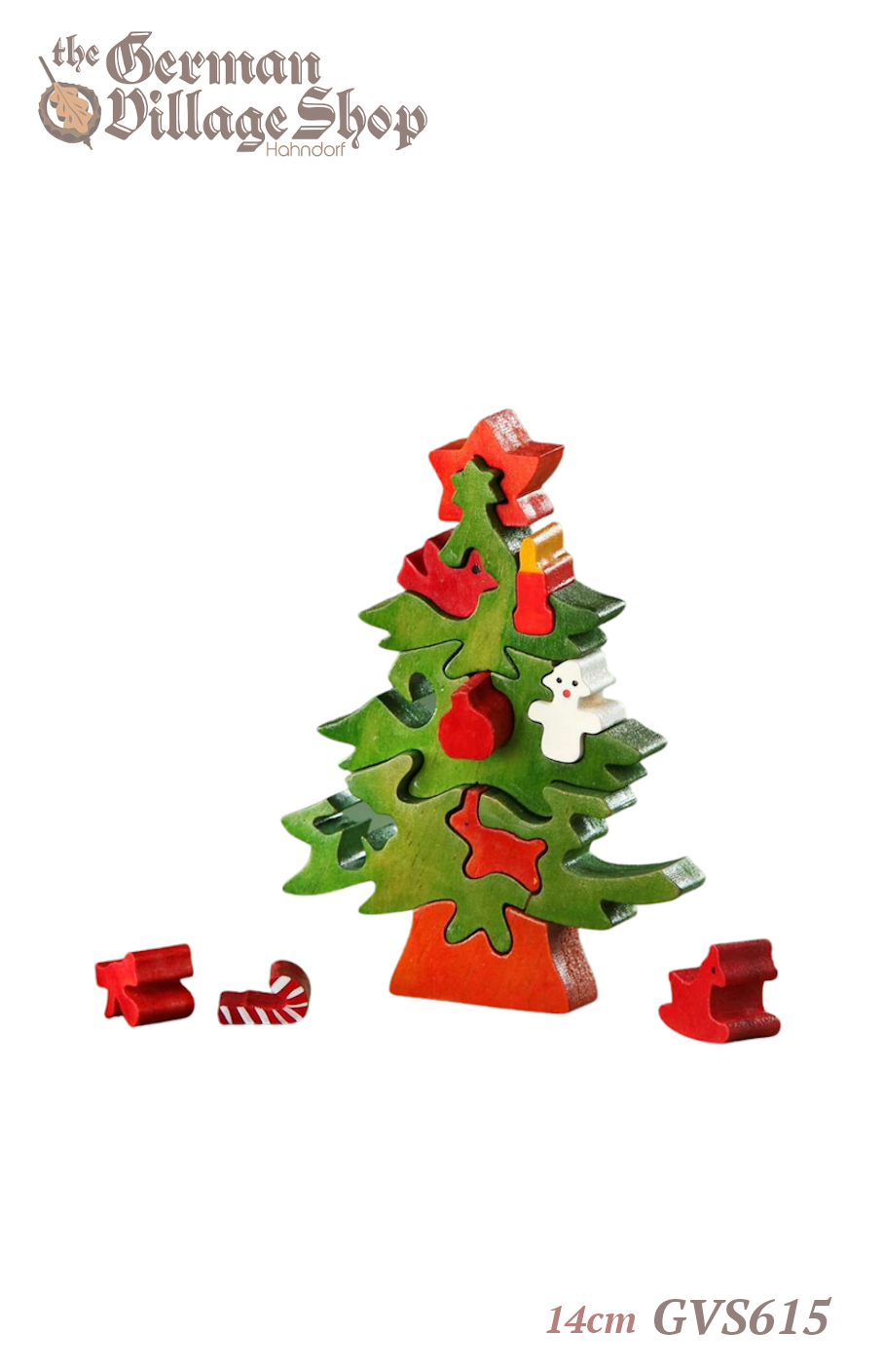 German wooden Christmas decorations, wooden christmas tree puzzle