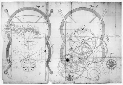manuscript drawing of the marine chronometer John Harrison