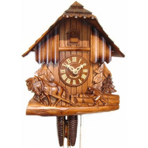 CUCKOO CLOCK QUARTZ Quartz chalet with horse and cart hand
