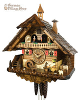 CUCKOO CLOCK MECHANICAL 1 day musical dancers chalet with beer drinker & wheel