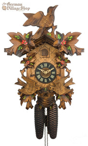 CUCKOO CLOCK MECHANICAL 8 day hand painted alpine flowers & moving cuckoo birds