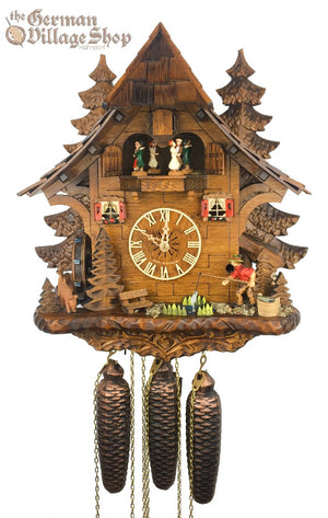 German Cuckoo Clock 8 day mechanical black forest chalet with music and fisherman