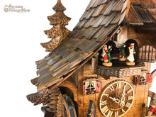 CUCKOO CLOCK MECHANICAL 8 day musical chalet with fisherman + pine tree backing