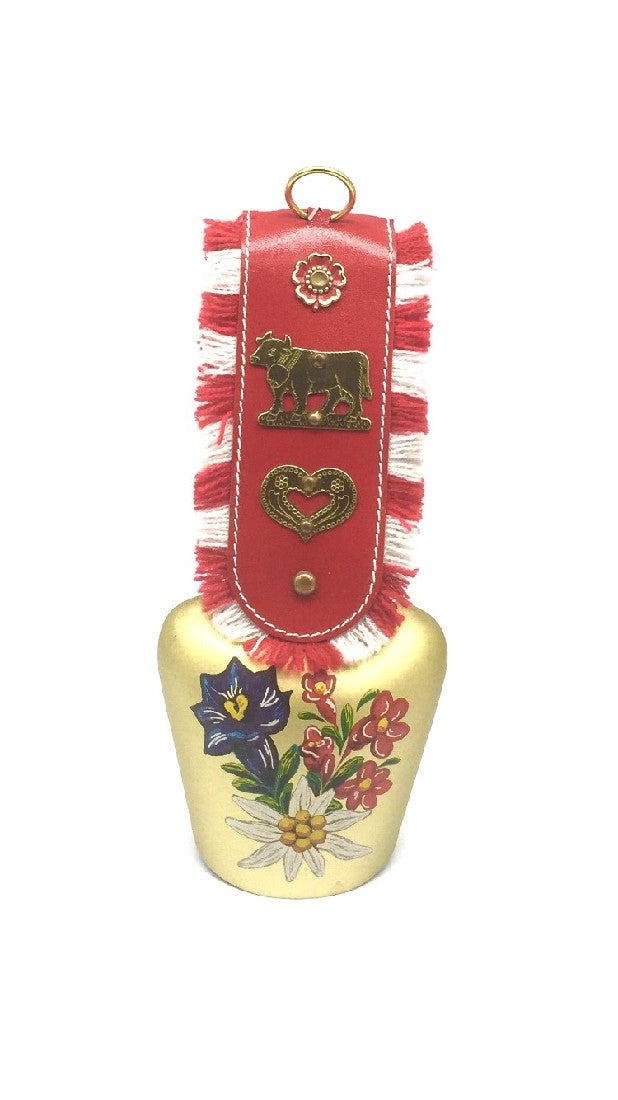 COW BELL - RED LEATHER STRAP AND 8CM GOLD BRASS BELL WITH ALPINE FLOWERS