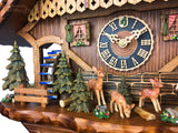 CUCKOO CLOCK MECHANICAL HONES 8 day chalet with girl feeding deer and stag