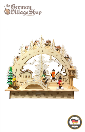 German wooden Christmas arches, Schwibbogen, German Christmas decorations, Wooden Christmas arch with LED lights