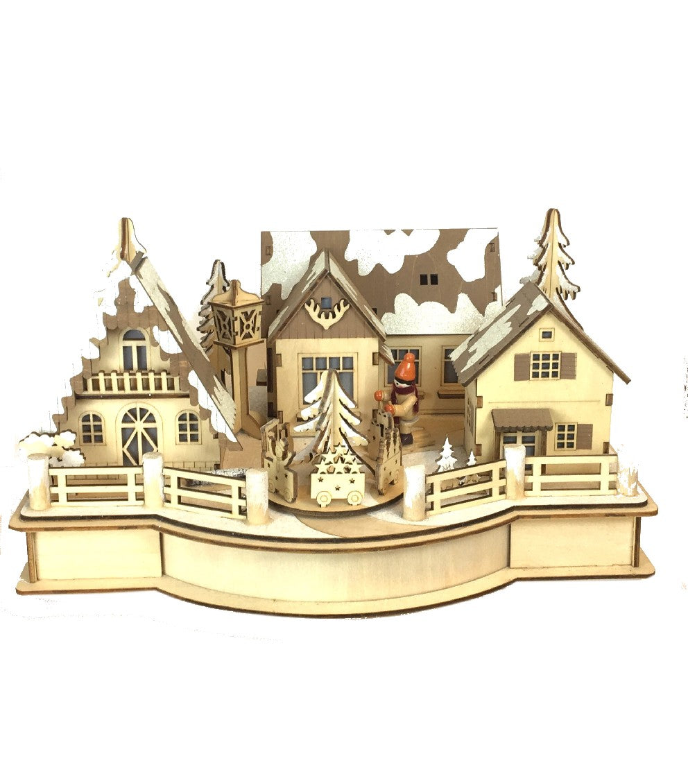 Christmas Decoration - Wooden Scene With Led Light And Music 24x30cm
