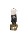Alpine cowbell German cowbell genuine cow hide brass bell. Black and white cow hide