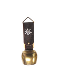 Alpine cowbell German cowbell genuine cow hide brass bell. Brown cow hide