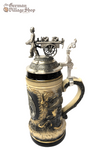 German beer stein, Beer mug, German stein made in Germany, western Germany clay stein, stein with pewter lid, collector beer steins