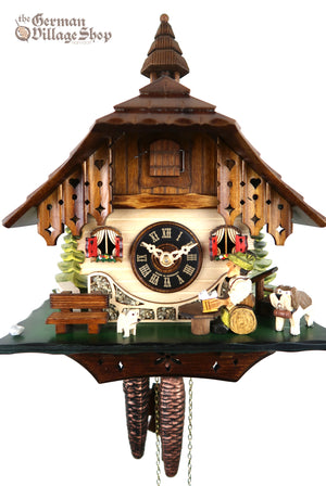 German Cuckoo Clock 1 day mechanical black forest chalet with moving beer drinker