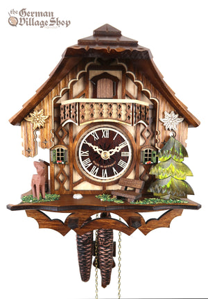 German Cuckoo Clock 1 day mechanical black forest chalet with deer