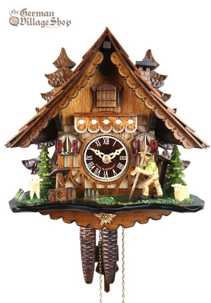 German Cuckoo Clock 1 day mechanical black forest chalet with moving shepherd