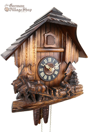 German Cuckoo Clock 1 day mechanical black forest chalet wood logging