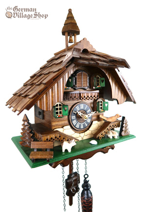 German Cuckoo Clock battery operated black forest chalet with dog and cuckoo bird