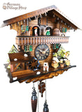German Cuckoo Clock battery operated black forest chalet with beer drinkers and music