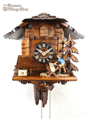 German Cuckoo Clock 1 day mechanical black forest chalet wood saw-man