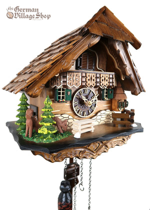 German Cuckoo Clock battery operated black forest chalet with deers