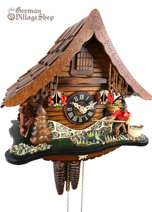 German Cuckoo Clock 1 day mechanical black forest chalet with moving fisherman