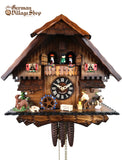 German Cuckoo Clock 1 day mechanical black forest chalet with music and wood chopper