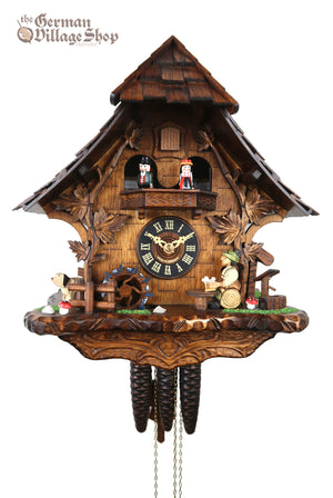 German Cuckoo Clock 1 day mechanical black forest chalet with music and moving beer drinker