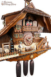 German Cuckoo Clock 8 day mechanical black forest chalet with moving wood saw mill and music