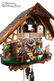 German Cuckoo Clock battery operated black forest chalet with see saw and music
