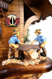 German Cuckoo Clock battery operated black forest chalet with wood sawyer men and music