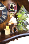 German Cuckoo Clock 1 day mechanical black forest chalet with moving woodchopper