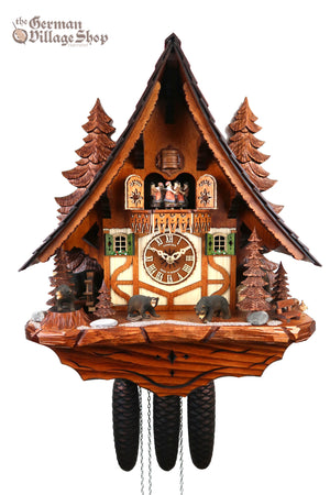 German Cuckoo Clock 8 day mechanical black forest chalet with moving bears and music