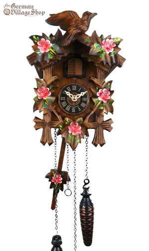 German Cuckoo Clock battery operated with traditional cuckoo bird carvings and hand painting