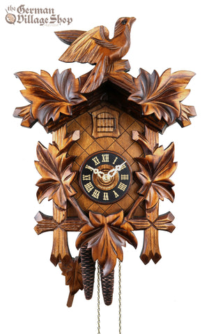 German Cuckoo Clock 1 day mechanical traditional cuckoo bird with leaves