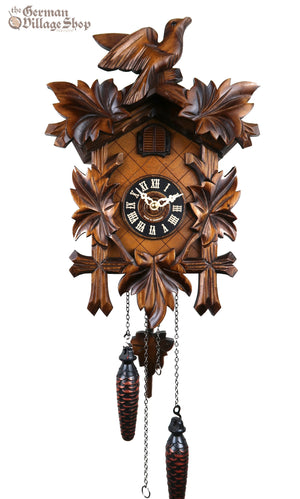 German Cuckoo Clock battery operated with traditional cuckoo bird carvings