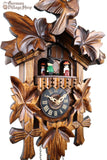 German Cuckoo Clock battery operated with traditional maple leaves and cuckoo bird with music