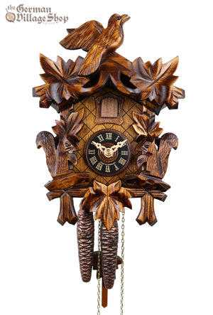 German Cuckoo Clock 1 day mechanical cuckoo bird and squirrel carvings