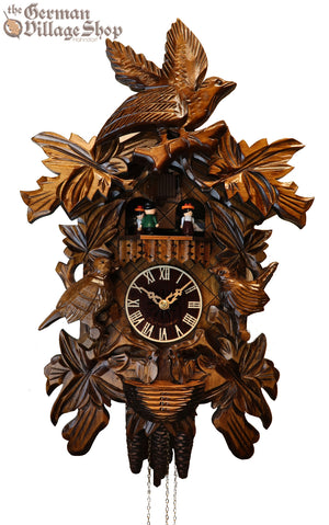 CUCKOO CLOCK MECHANICAL 1 day musical traditional cuckoo birds & maple leaves