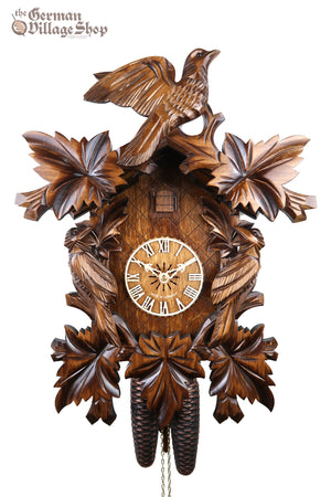 German Cuckoo Clock 8 day mechanical traditional cuckoo bird carvings