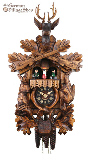 German Cuckoo Clock 1 day mechanical After the hunt scene with music