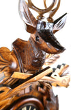 German Cuckoo Clock battery operated After the hunt scene - close up of stag head
