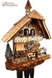 German Cuckoo Clock 8 day mechanical black forest chalet with moving wood sawyer men and music