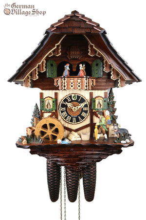 German Cuckoo Clock 8 day mechanical black forest chalet with clock peddler and music