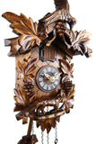 German Cuckoo Clock battery operated with cuckoo bird, grape vines and fox