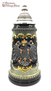 German beer stein 1/2 L forest green and black with pewter eagle