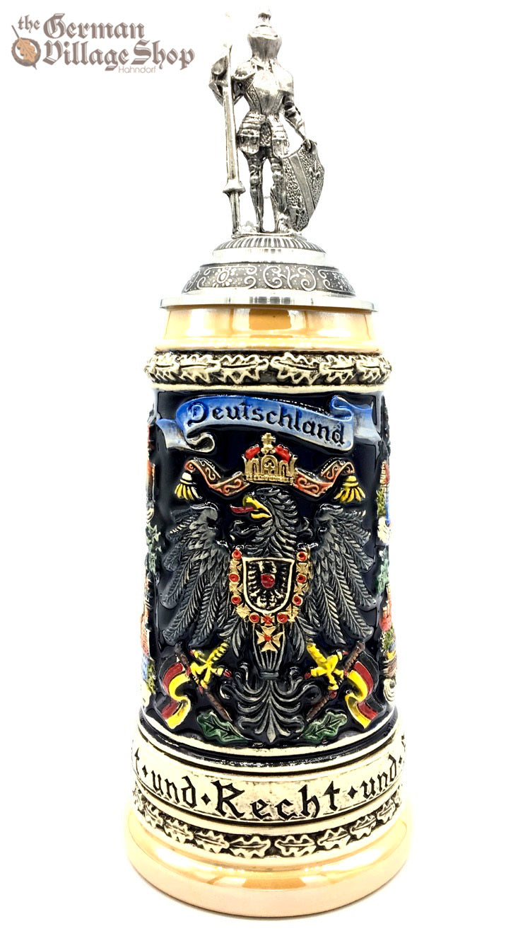 German beer stein with pewter night as lid for sale in Australia imported from Germany