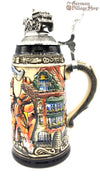 Traditional German beer stein with Oktoberfest design and pewter lid featured in The German Village Shop Hahndorf South Australia