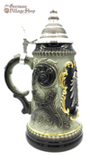 German Beer Stein 1/2 L Forest green and black with gold detailing and pewter lid and eagle