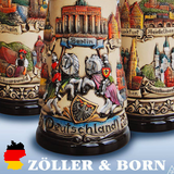 German beer stein, Beer mug, German stein made in Germany, western Germany clay stein, stein with pewter lid, collector beer steins, made by Zoller and born Germany